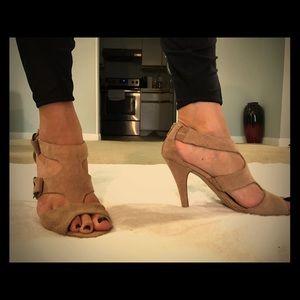 Suede strappy heels